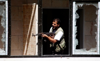 FSA Rebel Shooting From Justice Palace
